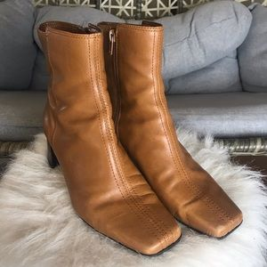 Nine West Short Leather Square Boots - Brown